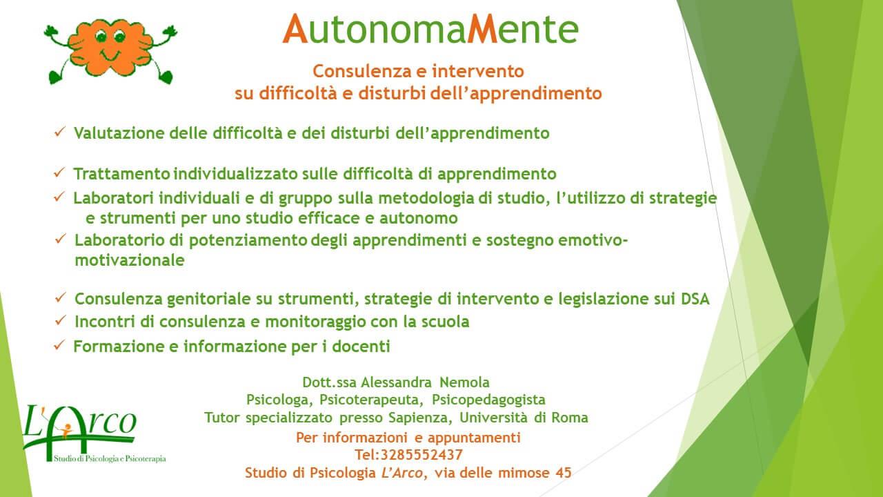 AutonomaMente – Consulenza e intervento  su difficoltà e disturbi dell'apprendimento